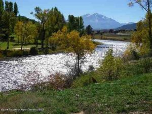 Iron Bridge River Lot for Sale with huge view of Mt. Sopris on Roaring Fork River.