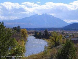 Iron Bridge River Lot for sale with huge Sopris views and on Roaring Fork River